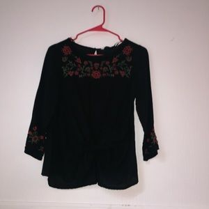 Zara black blouse w/ rose sleeves and front tie